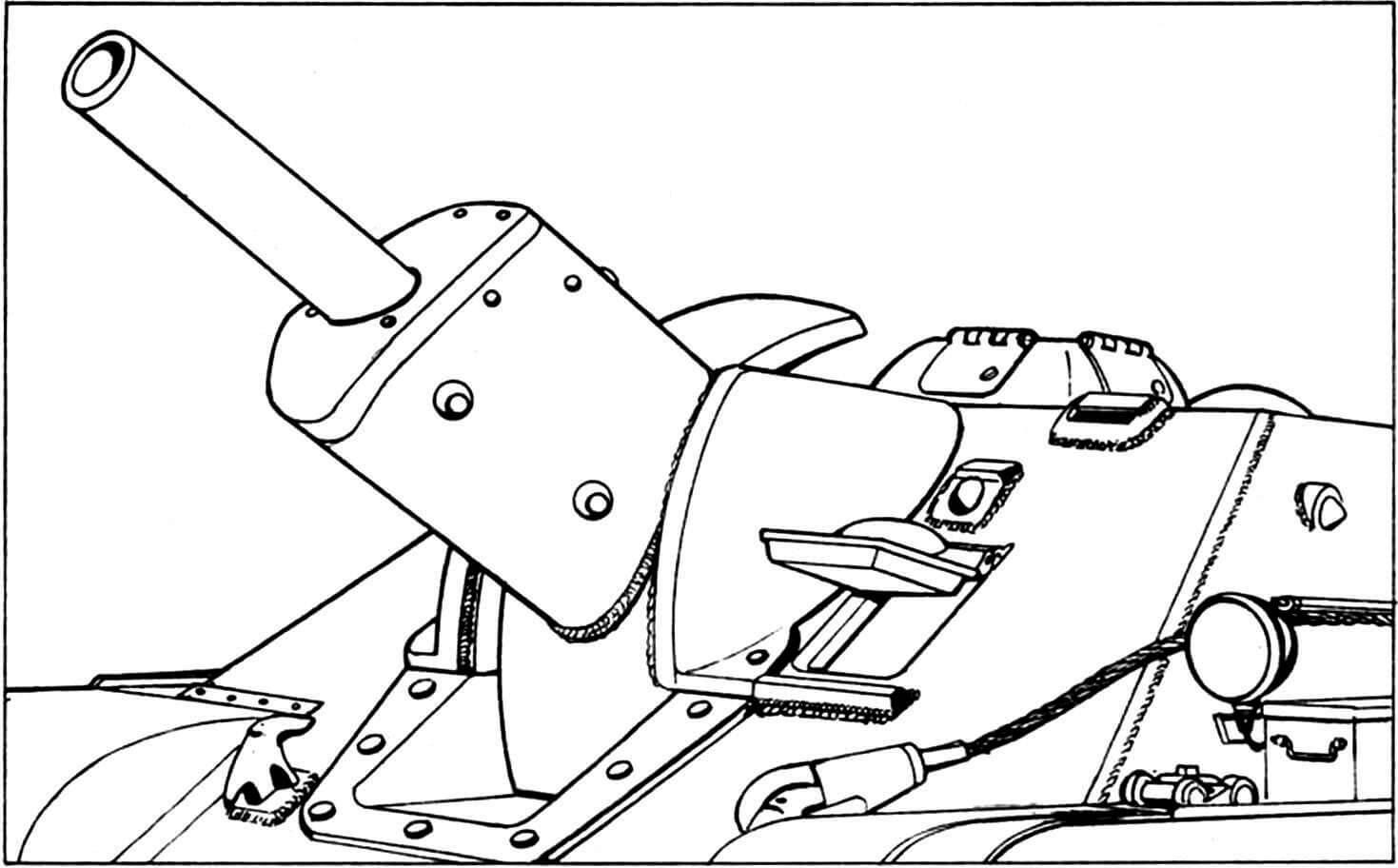 Лобовая часть корпуса САУ. Ствол орудия на максимальном угле возвышения. Крышка люка механика-водителя открыта.