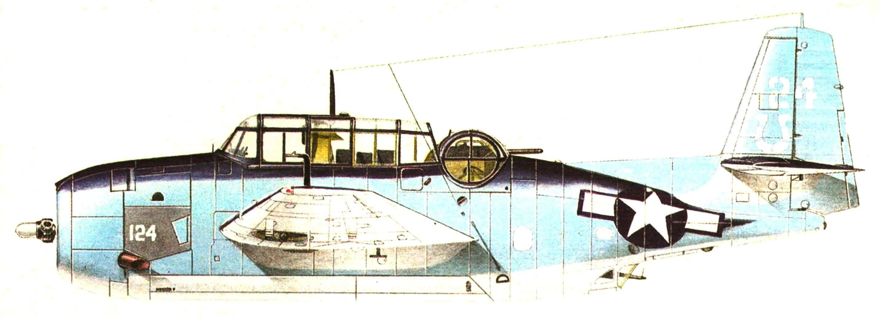ТВМ-1С из торпедоносной эскадрильи VT-7. Авианосец «Хэнкок» Тихий Океан. 1944 год.