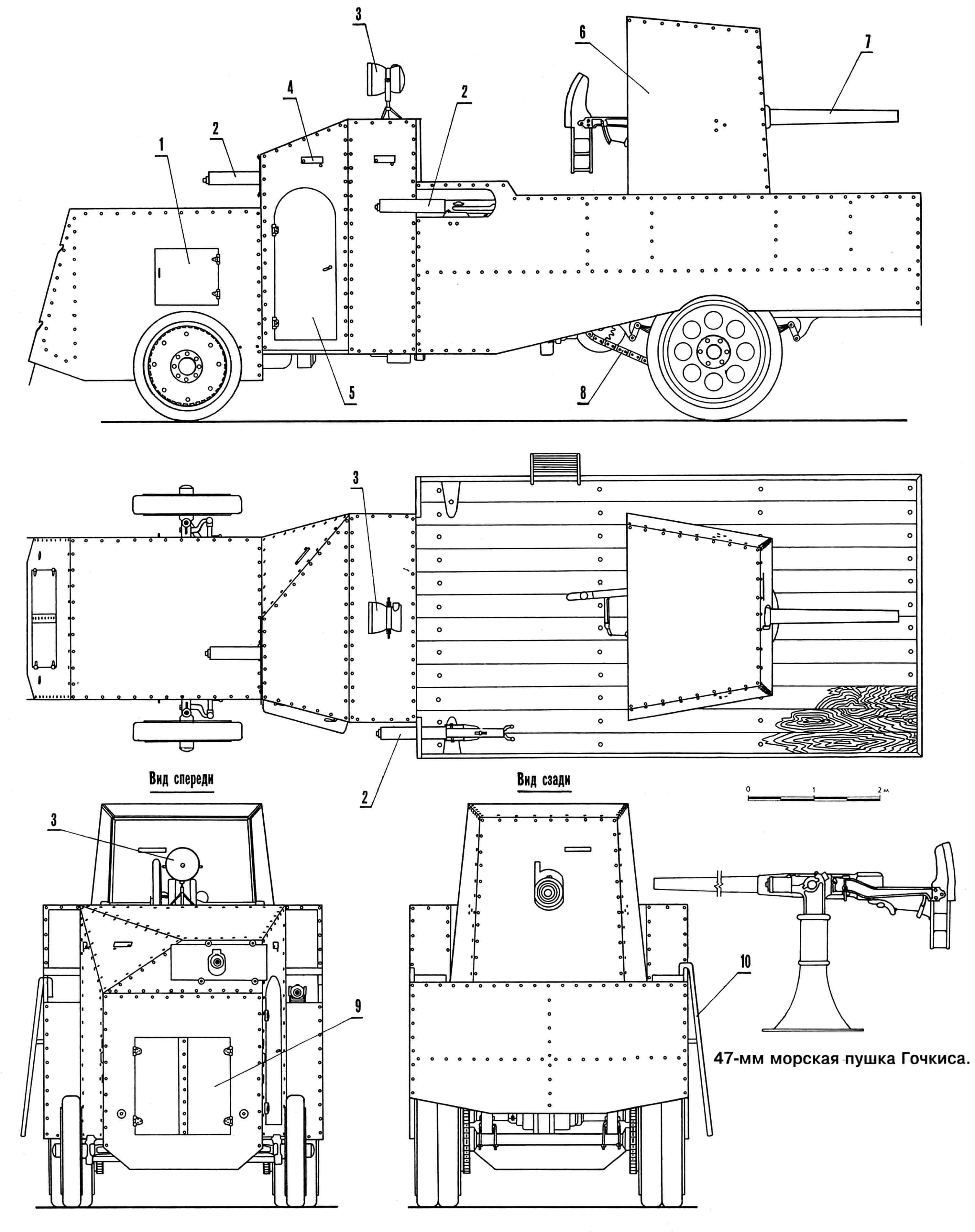 Бронеавтомобиль «Маннесман-Мулаг»: 1 — дверца люка для доступа к двигателю, 2 — пулемет Максима, 3 — прожектор, 4 — заслонка смотровой щели, 5 — дверь для посадки в кабину, 6 — броневое прикрытие пушки, 7 — 47-мм пушка Гочкиса, 8 — цепная передача, 9 — броневая крышка радиатора, 10 — лестница для посадки экипажа в кузов.