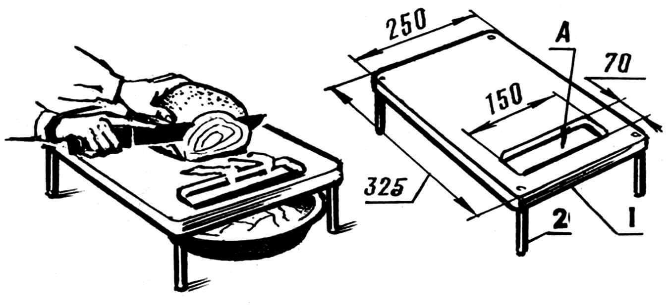 Рис. 2. Разделочная доска на ножках: 1 — доска (20x250x325 мм), 2 — ножка (бук диаметром 12 мм, длиной 100 мм, 4 шт.); А — овальное отверстие.