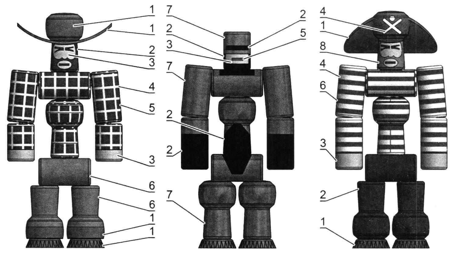 Схема окрашивания: 1 - коричневый; 2 - черный; 3 - розовый; 4 - белый; 5 - красный; 6 - синий; 7 - темно-синий; 8 - оранжевый