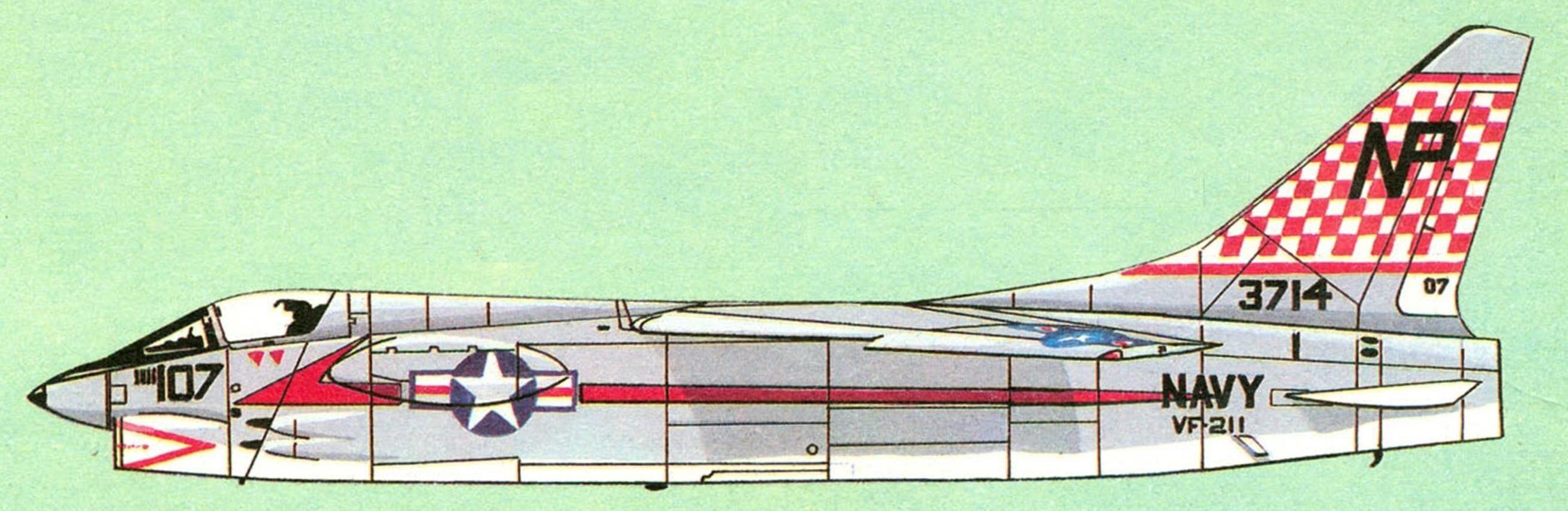 F8U-1 (F-8A) эскадрильи VF-211 «Red Checkertails», авианосец «Hancock».