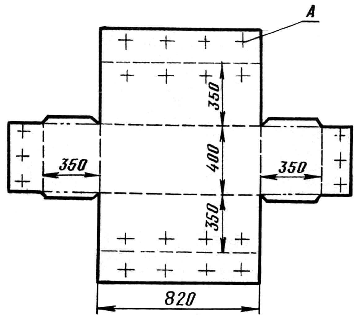 Рис. 3. Выкройка кровати. А — места пришивания пуговиц. Размеры указаны без учета припусков на швы.