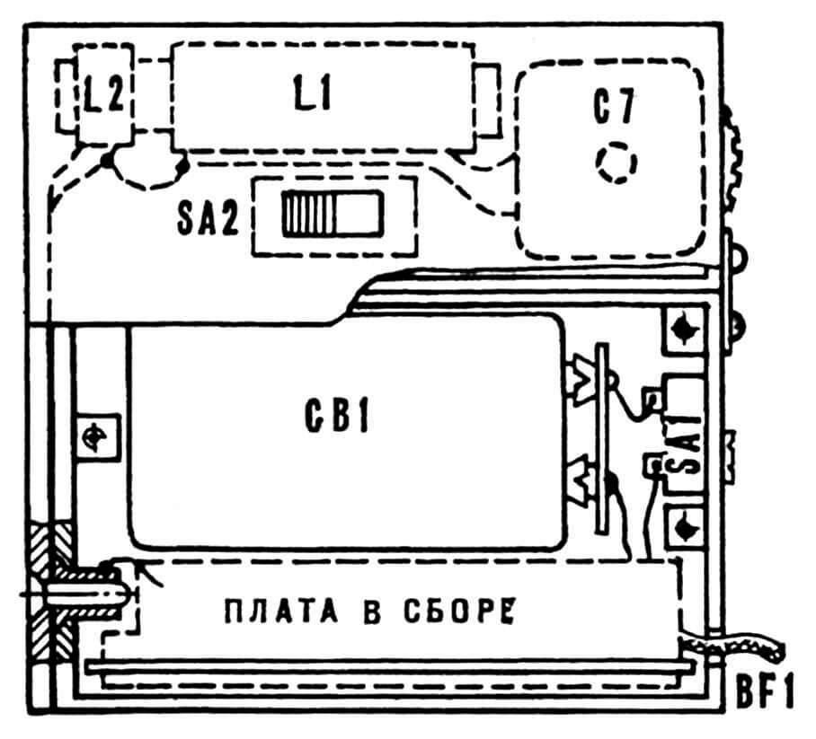 Рис. 3. Компоновка блоков радиопробника.