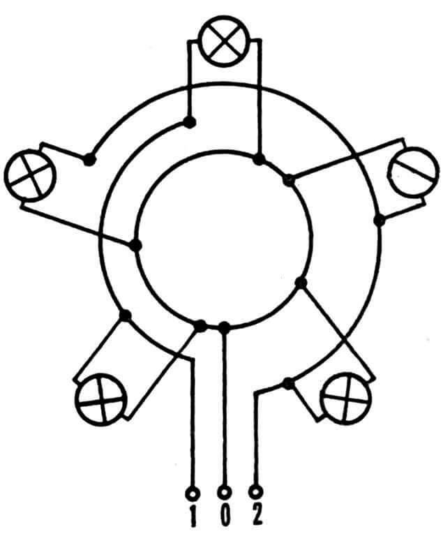 Принципиальная электросхема соединения проводов светильников люстры.