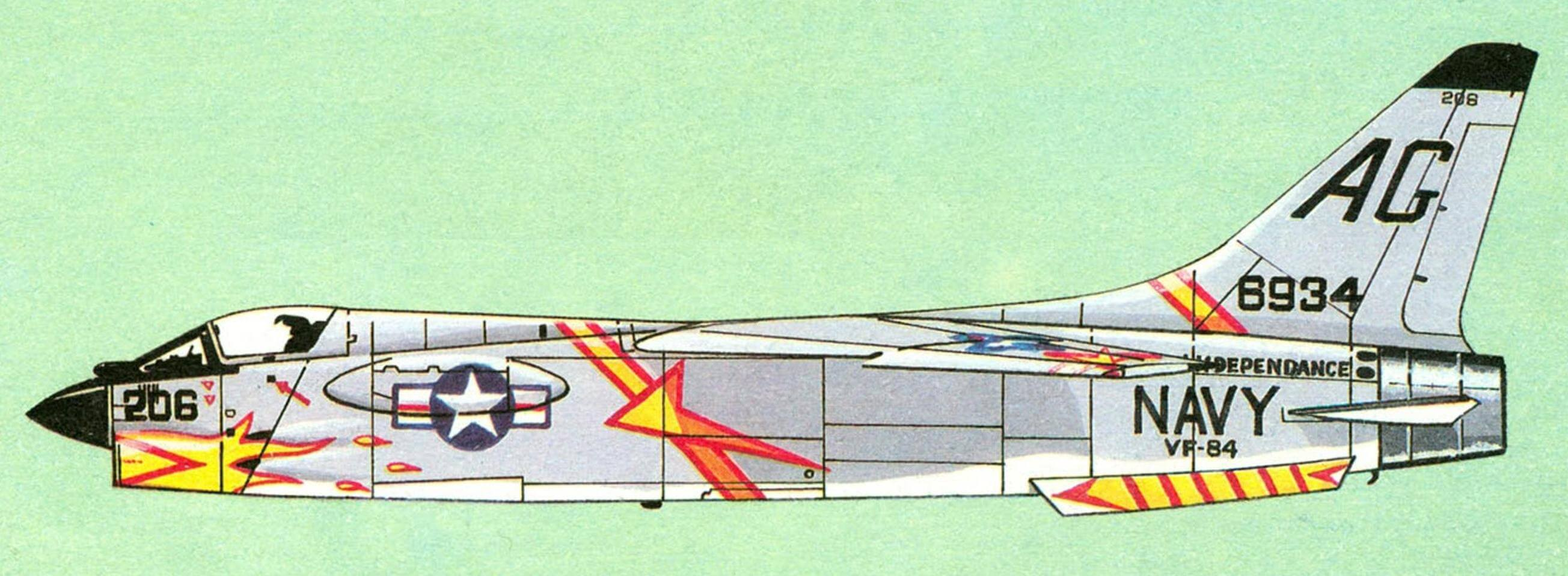 F8U-2 (F-8C) эскадрильи VF-84, авианосец «Independence».
