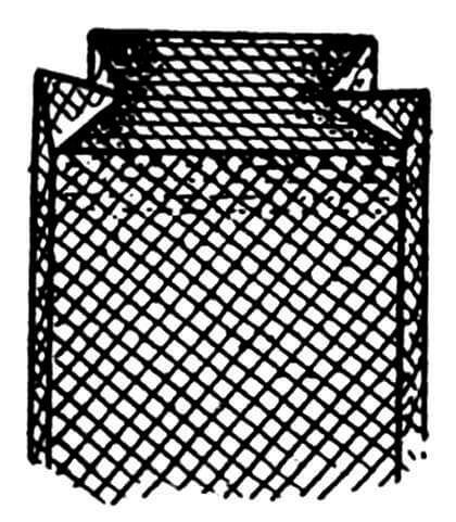 Вариант «выкраивания» люльки закладкой углов сетки.
