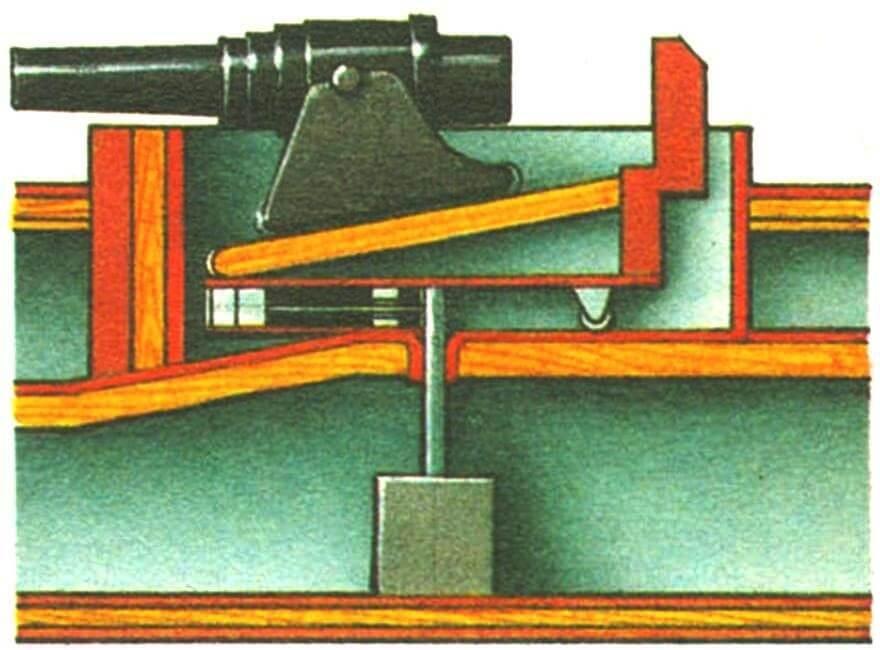 Барбетная установка броненосца X «Океан» (Франция, 1870 г.).