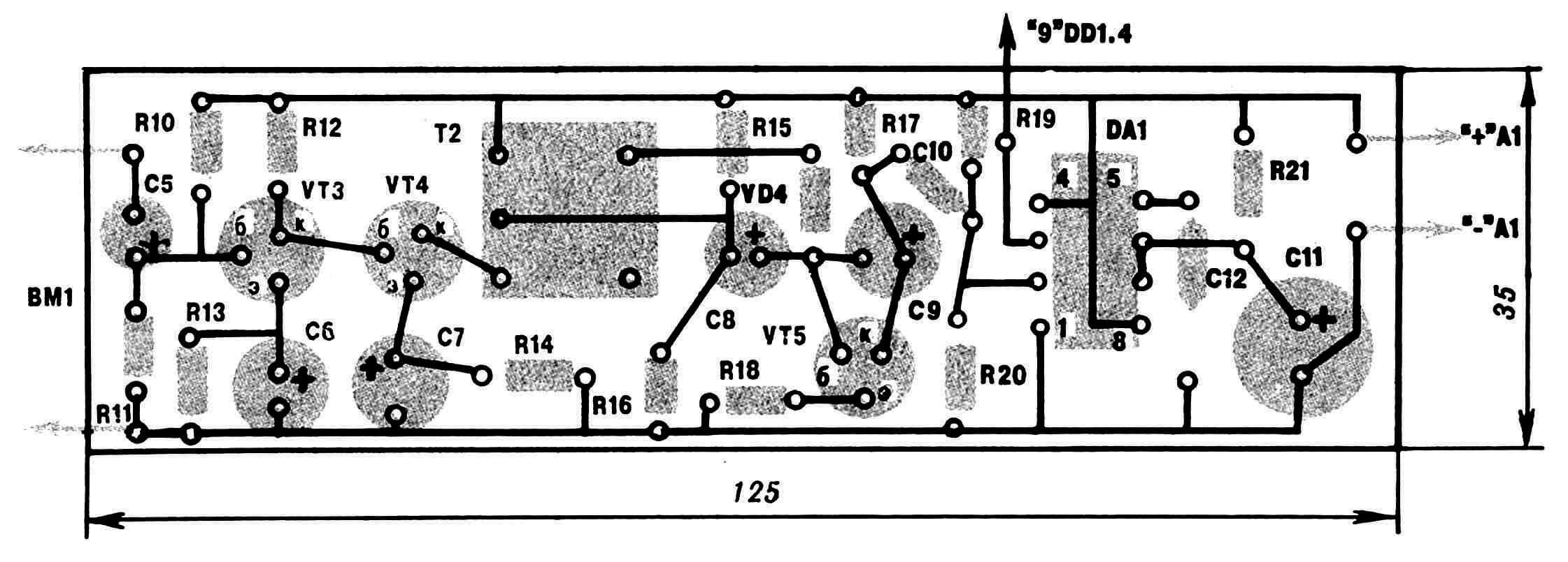 Принципиальная электрическая схема приставки для приема сигнала на включение нагрузки по телефону и ее монтажная плата.