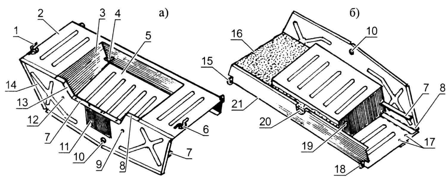 Ахтерпик (а - вид сверху, б - вид снизу): 1,6 - якорно-швартовочные утки; 2 - кормовая палуба; 3 - левая боковина подмоторной ниши; 4 - левая страховочная скоба; 5 - дно подмоторной ниши; 7 - сквозной транцевый стрингер; 8,13 - правый и левый транцевые стрингеры; 9, 12 - отверстия для слива воды из подмоторной ниши; 10 - резьбовая пробка отверстия для слива воды из корпуса; 11 - накладка для упора струбцин подвесного мотора; 14 - транец; 15, 18 - ушки крепления к бортам; 16 - левый кормовой блок плавучести (правый условно не показан); 17 - гайки М6 крепления правой утки; 19 - шайба-подкладка правой страховочной скобы; 20 - срединный блок плавучести; 21 - спинка кормовой палубы