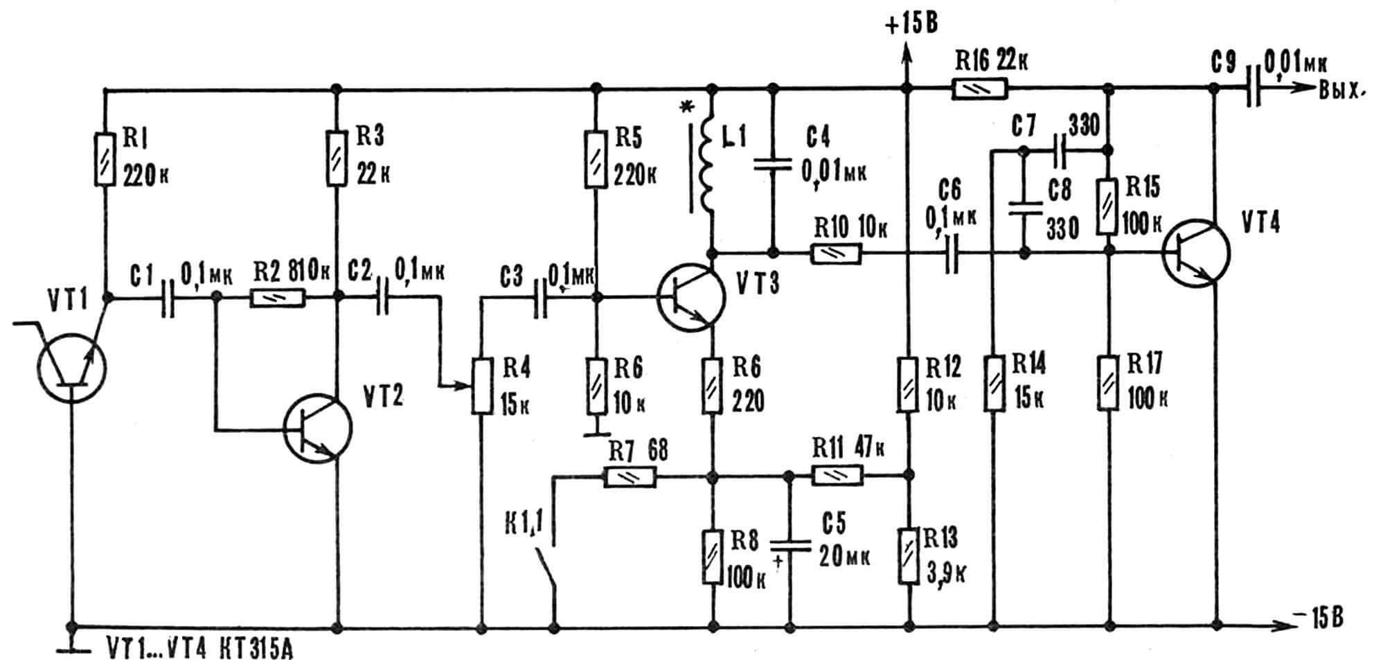 Рис. 6. Принципиальная схема генератора белого шума и усилителя-модулятора.