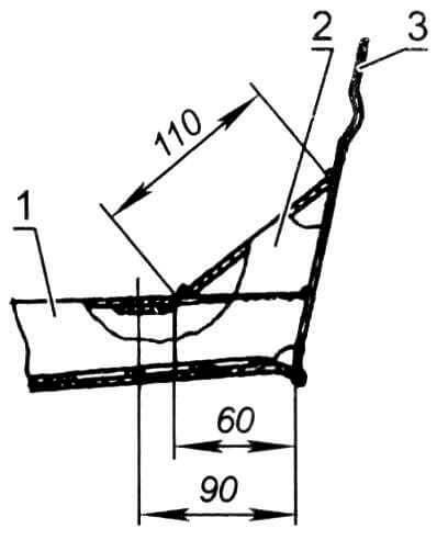 Бортовая кница на флортимберсах № 1,3, 4: 1 - флортимберс; 2 - скуловая кница (сталь, лист s1,5 мм); 3 - бортовая панель