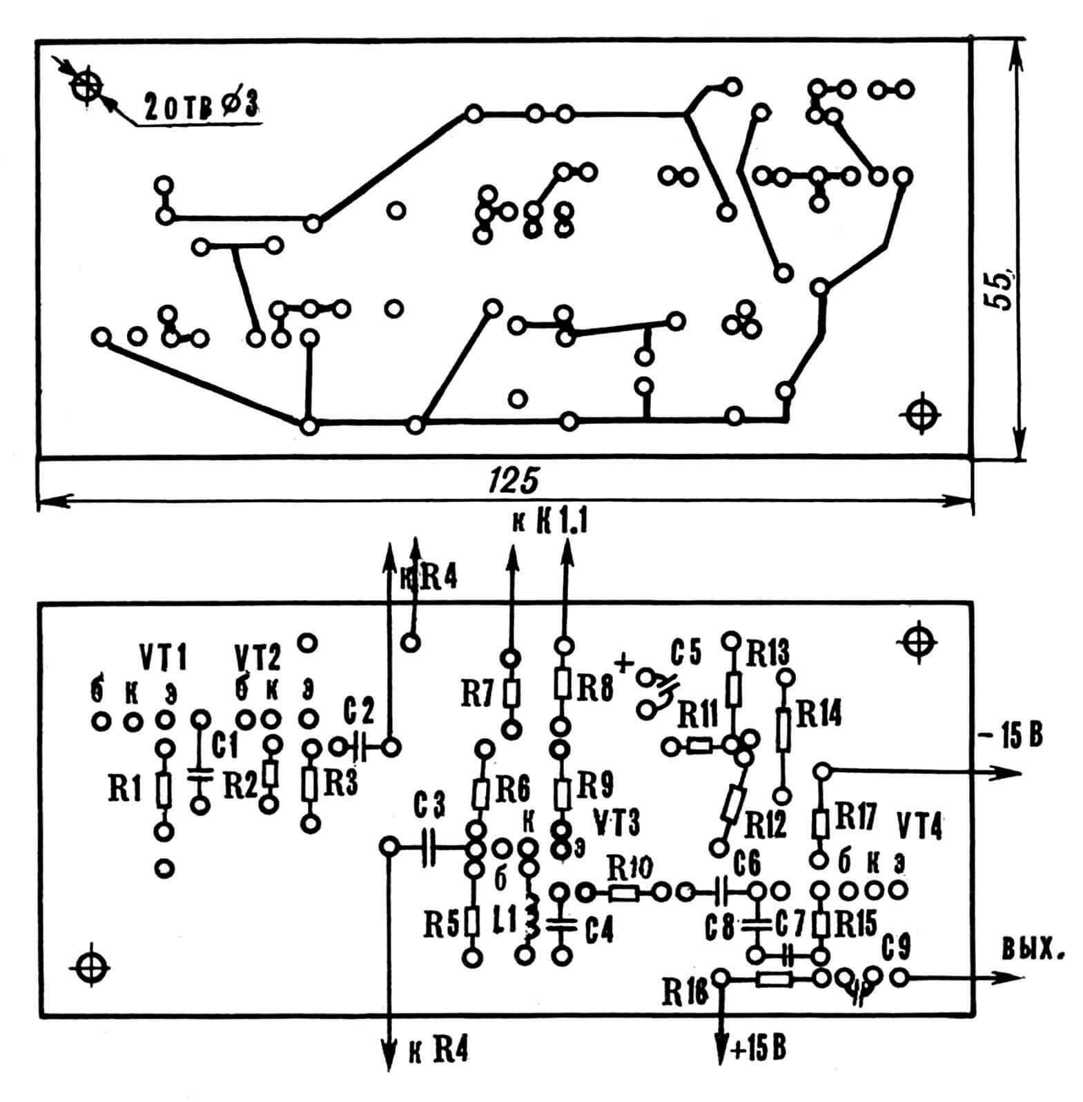 Рис. 8. Печатная плата генератора шума и усилителя-модулятора со схемой расположения элементов.