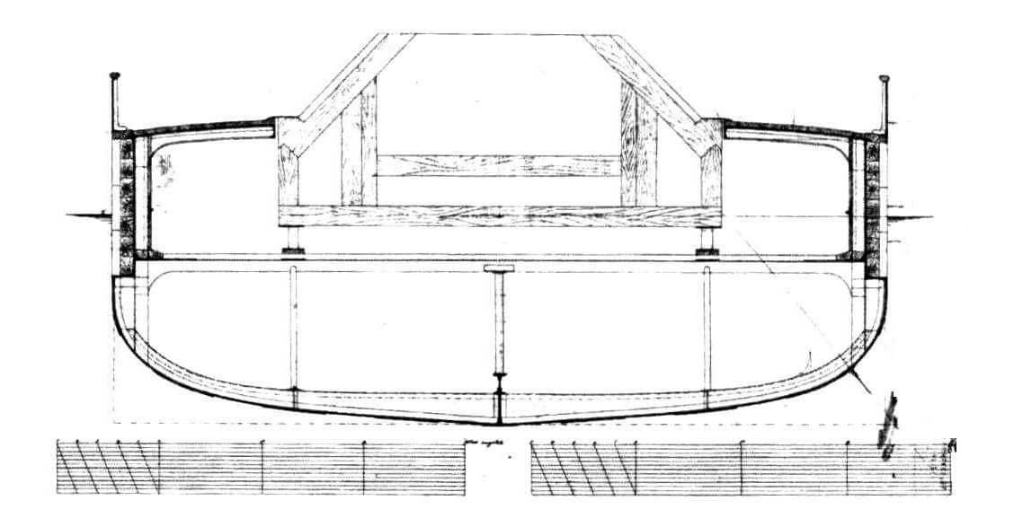 На этих чертежах видно, что по первоначальному замыслу башни конструкции Кольза должны были иметь наклонные стенки