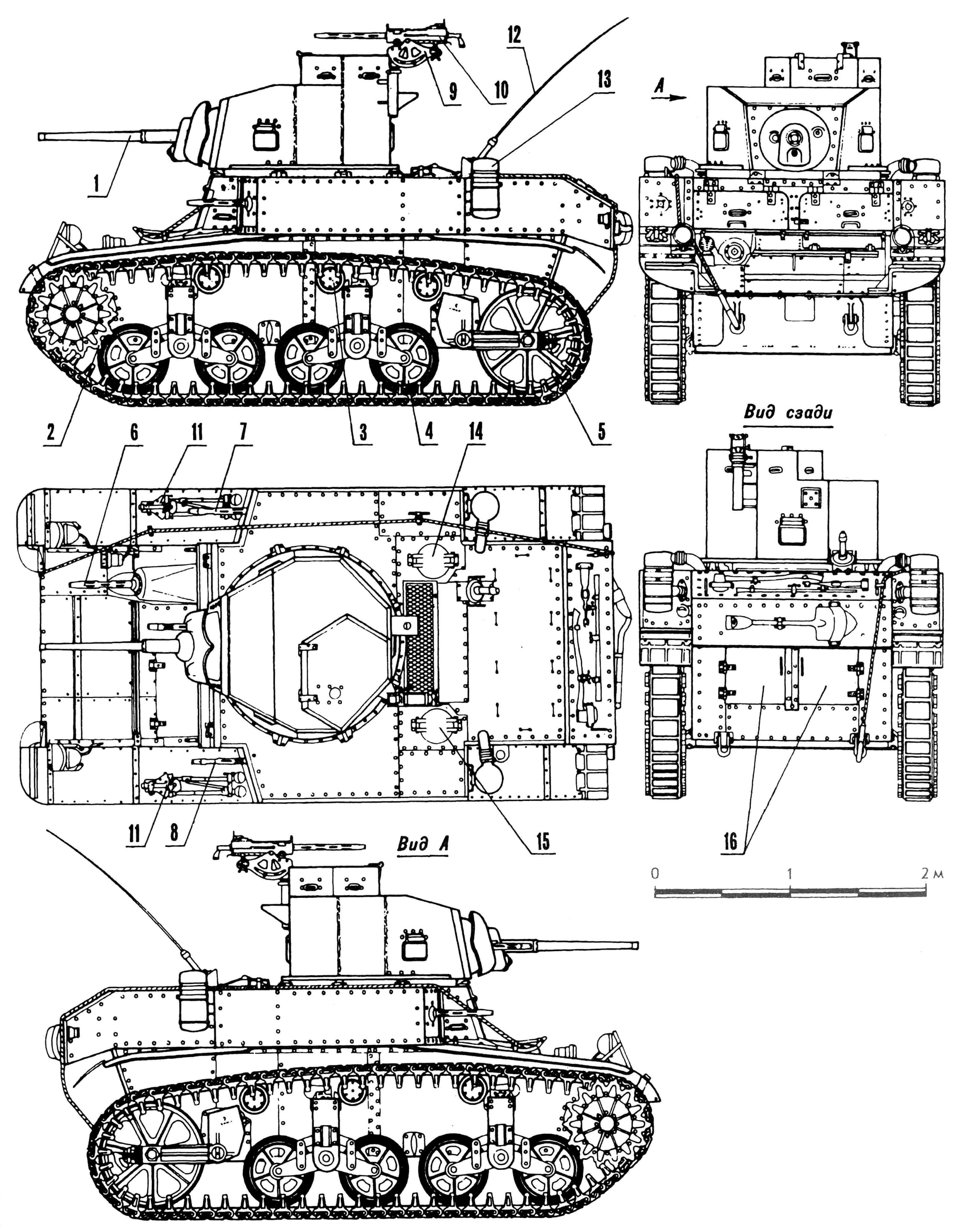Легкий танк М3 «Генерал Стюарт»: 1 — спаренная установка М23, 2 — ведущее колесо, 3 — поддерживающий каток, 4 — опорный каток, 5 — направляющее колесо, 6 — курсовой пулемет, 7 — пулемет в правом спонсоне, 8 — пулемет в левом спонсоне, 9 — зенитная установка М20, 10 — зенитный пулемет, 11 — треноги для пулеметов, 12 — антенна, 13 — воздухоочиститель, 14 — крышка над заливной горловиной правого бензобака, 15 — крышка над заливной горловиной левого бензобака, 16 — дверцы люка для доступа к двигателю. На виде сверху, спереди и сзади зенитный пулемет условно не показан.