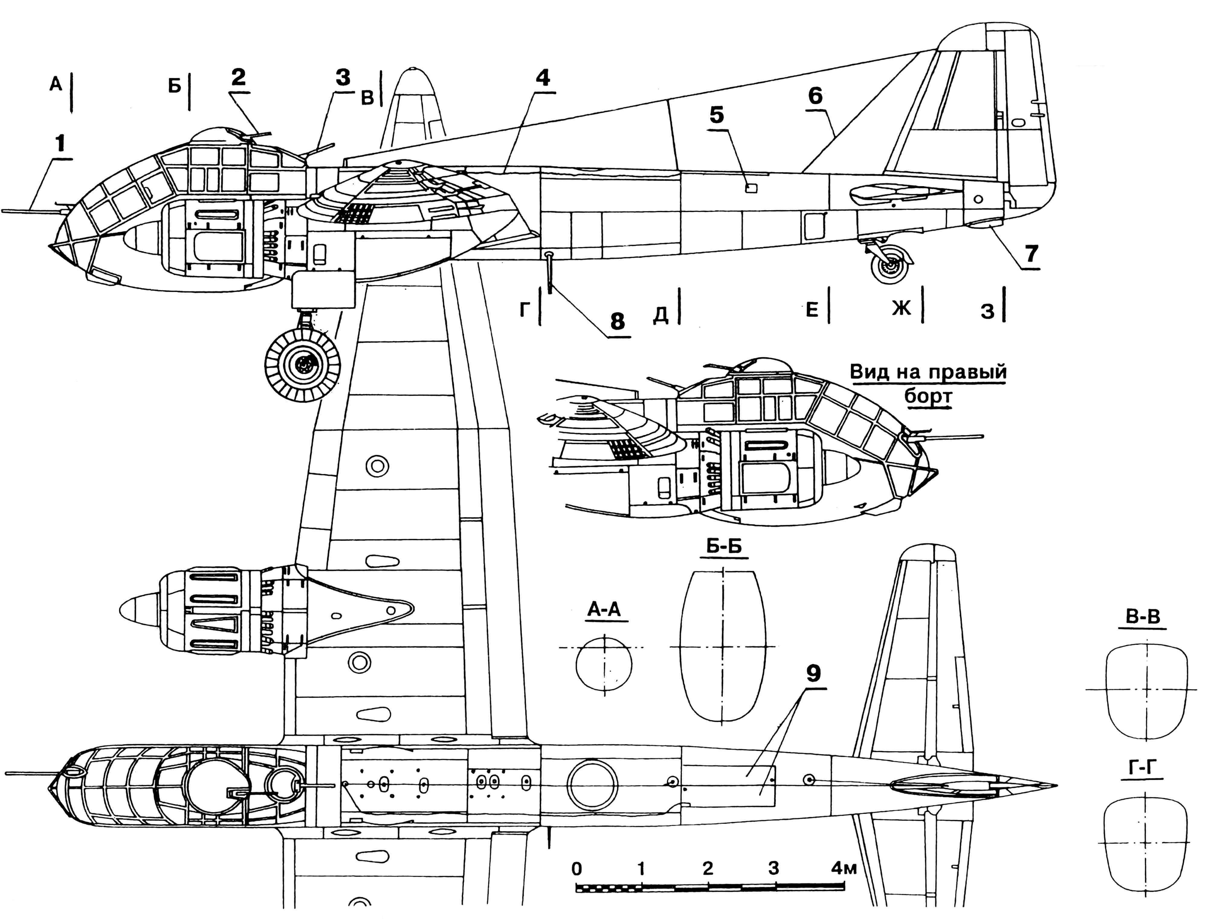«Юнкерc» Ju 188Е-1 Raecher: 1 — пушка MG 151/ 20, 2,3 — пулеметы MG 131, 4 — тросик спасательной лодки, 5 — лючок аптечки, 6 — антенна радиостанции FuG 16, 7 — патрубок аварийного слива топлива, 8 — грузик выпускаемой тросовой антенны FuG 16, 9 — створки отсека спасательной лодки, 10 — приборная панель пилота, 11 — место стрелка-радиста, 12 — оптический бомбовый прицел, 13 — кресло пилота, 14 — крышка люка для доступа экипажа в кабину, 15 — трубка Пито, 16 — воздушный тормоз, 17 — бомбы SC 250 на внешней подвеске, 18 — створки ниши заднего колеса, 19 — створки бомболюка, 20 — топливный бак в переднем бомбовом отсеке, 21 — спаренный пулемет MG 81Z.