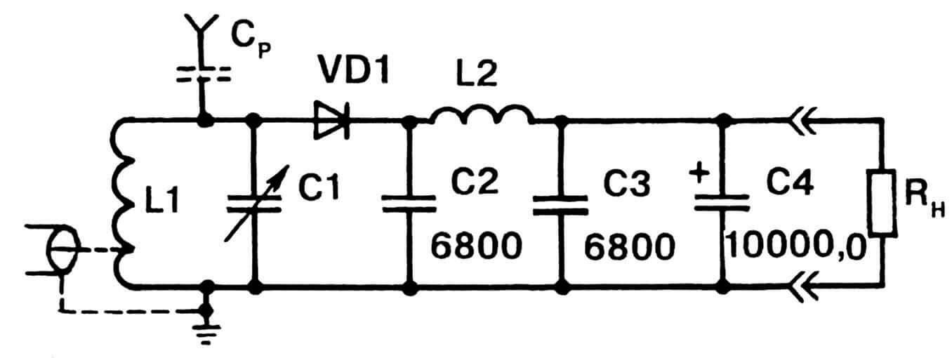 Рис.2. Детекторный приемник как источник электропитания для маломощной радиоаппаратуры.