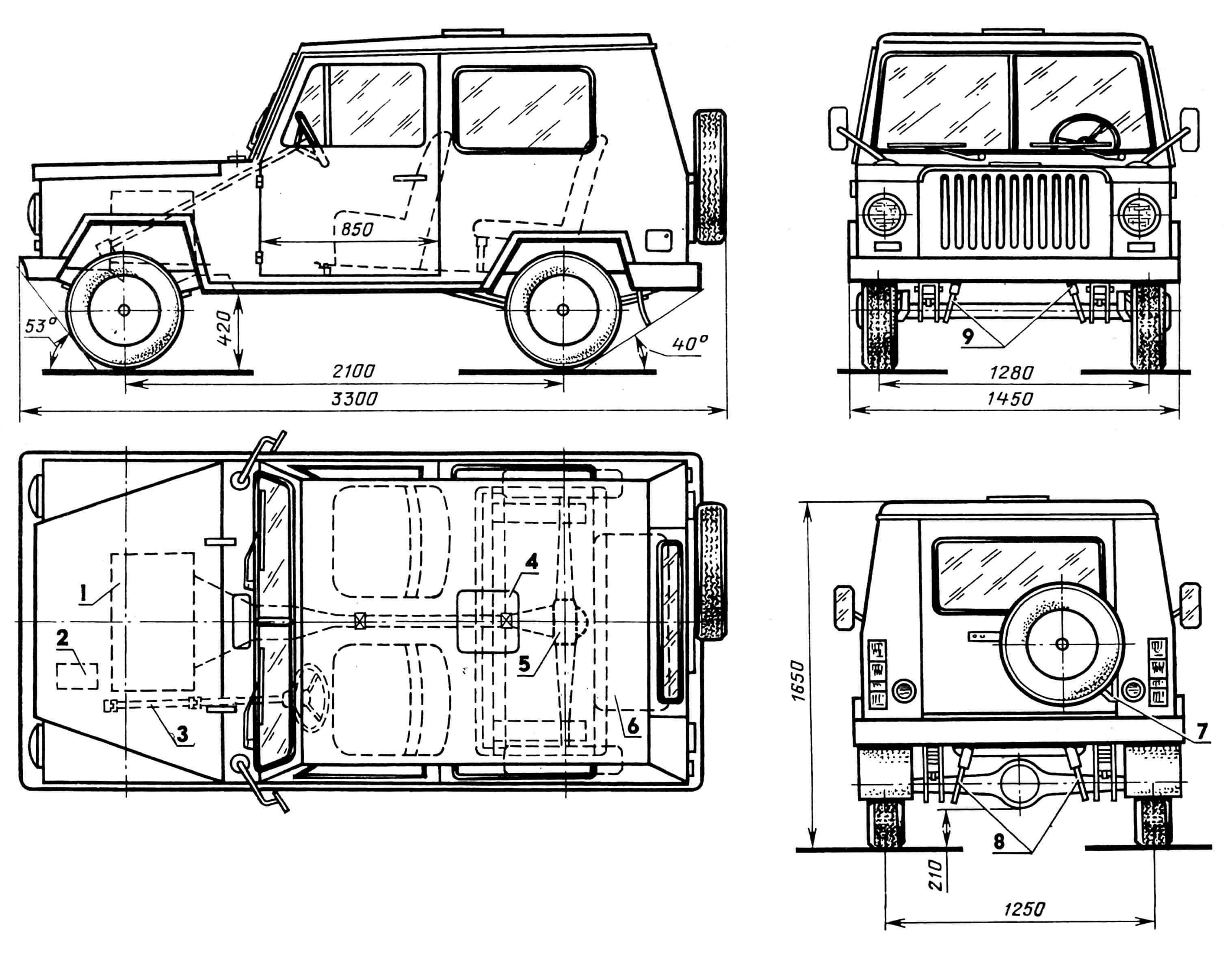 Автомобиль «Алезонник»: 1 — двигатель, 2 — аккумулятор, 3 — рулевое управление, 4 — верхний люк, 5 — главный редуктор с дифференциалом, 6 — бензобак, 7 — кронштейн крепления запасного колеса, 8 — телескопические амортизаторы задней подвески, 9 — телескопические амортизаторы передней подвески.