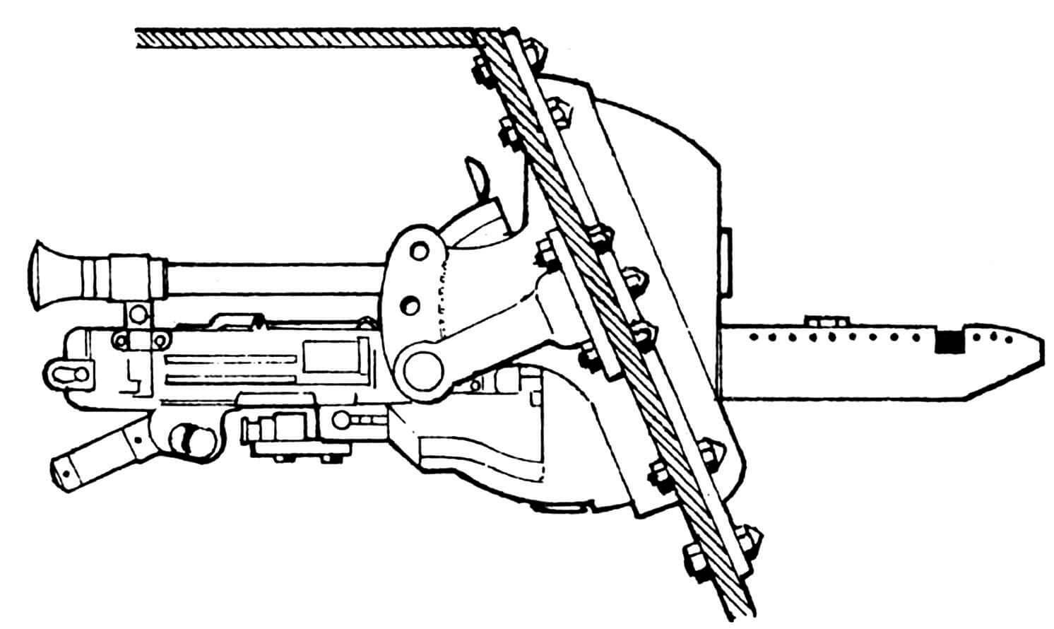 Установка курсового пулемета.