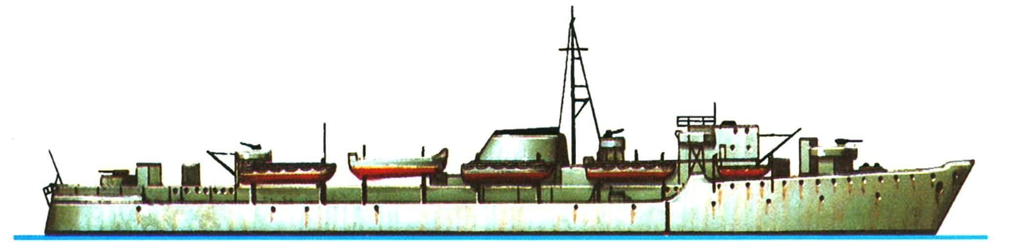 21. Пехотный десантный транспорт «Принцесс Беатрис» типа LSI(M), Англия, 1942 г. Водоизмещение 6700 т, длина 113,7 м,ширина 16,7 м,осадка 4,7 м. Дизельные двигатели мощностью 14 500 л.с., скорость 22 узла. Вооружение: два 76-мм зенитных орудия. Вместимость: 400 человек с вооружением, восемь десантных катеров типа LCA,LCS и два LCM.