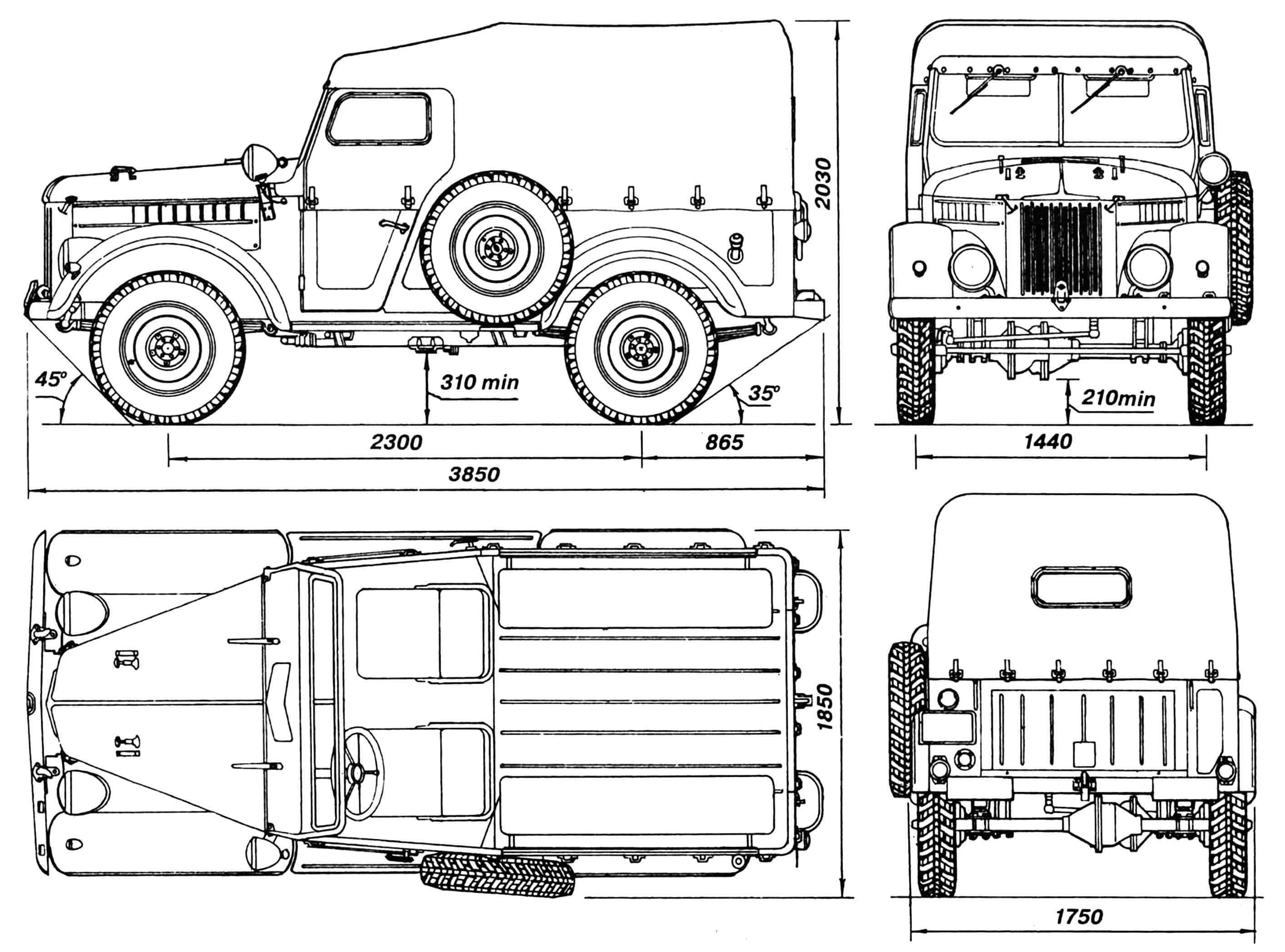 Автомобиль ГАЗ-69 (на виде сверху тент не показан).