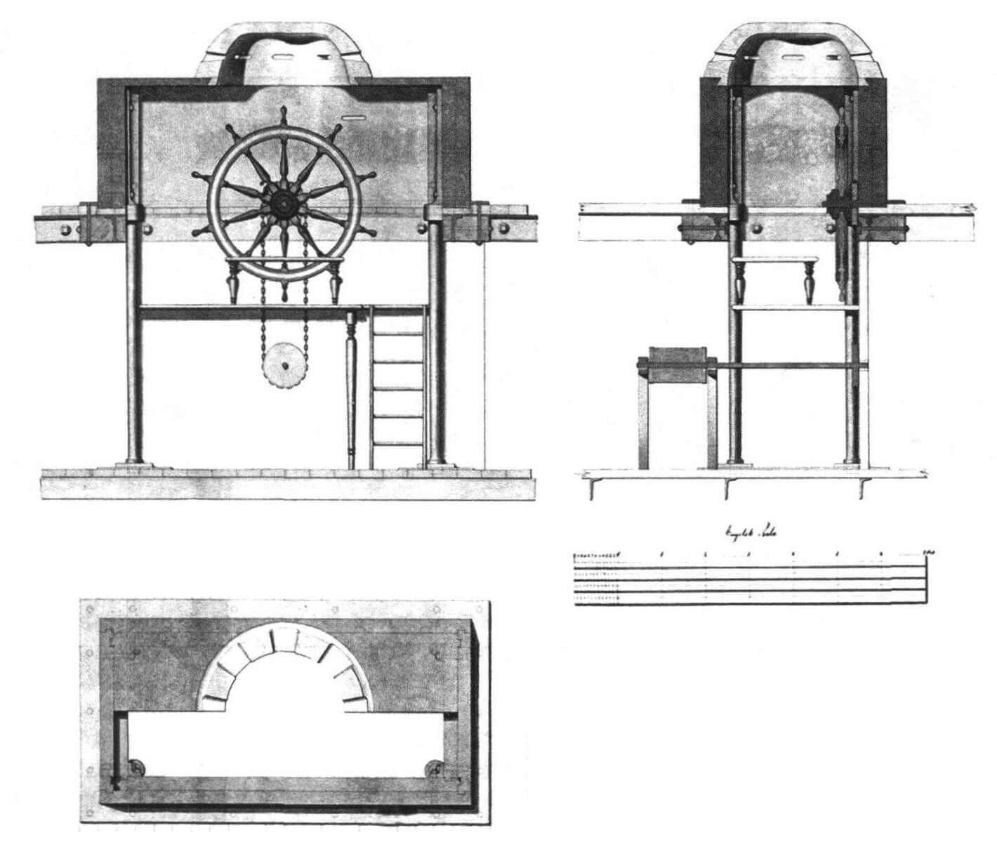 Боевая рубка броненосной батареи «Рольф Краке» (копия подлинного чертежа). В ходе нескольких боев с неприятельскими батареями броневая защита корабля успешно выдержала множество попаданий