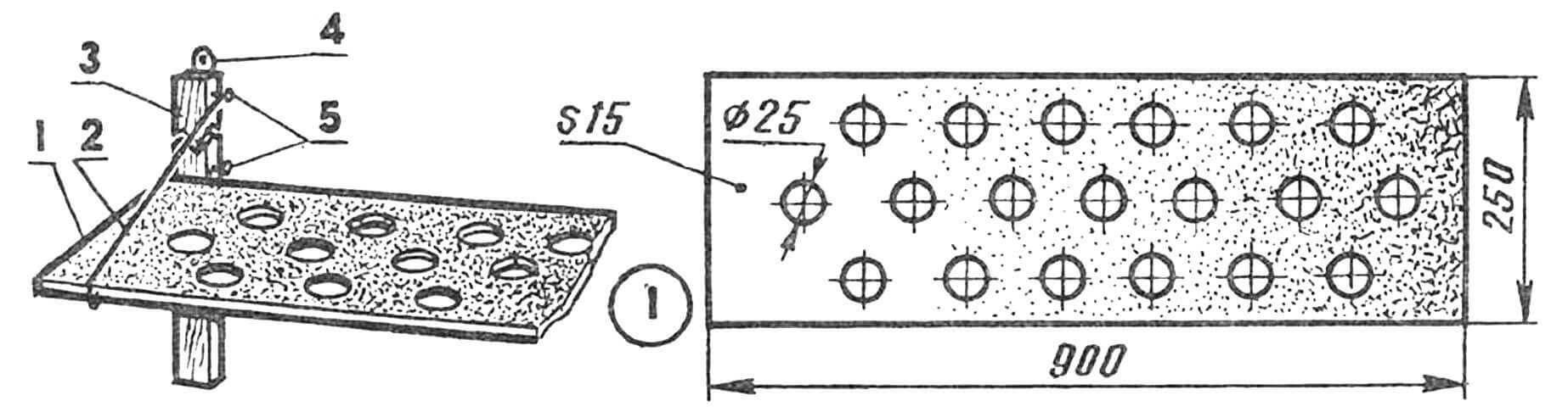 Сплошная деревянная полочка: 1 — горизонтальная панель (из досок или ДСП), 2 — проволочный кронштейн, 3 — вертикальный брус, 4 — петля подвески, 5 — шурупы.