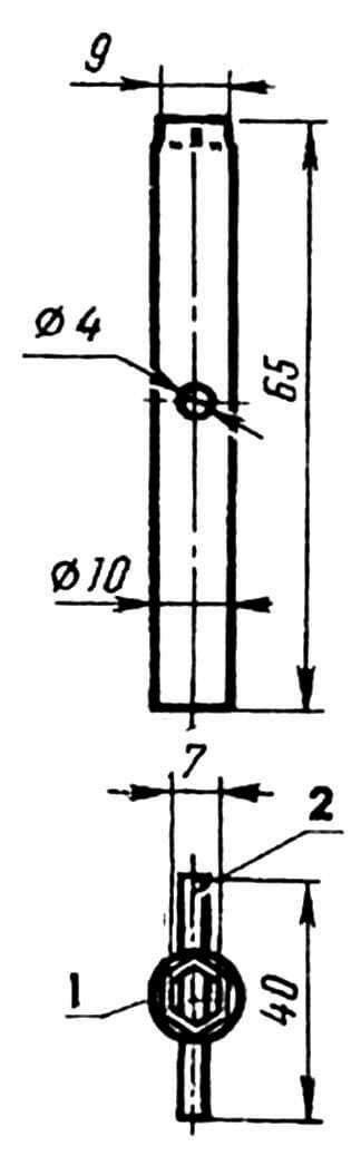 Торцевой ключ: 1 — основа, 2 — вороток.