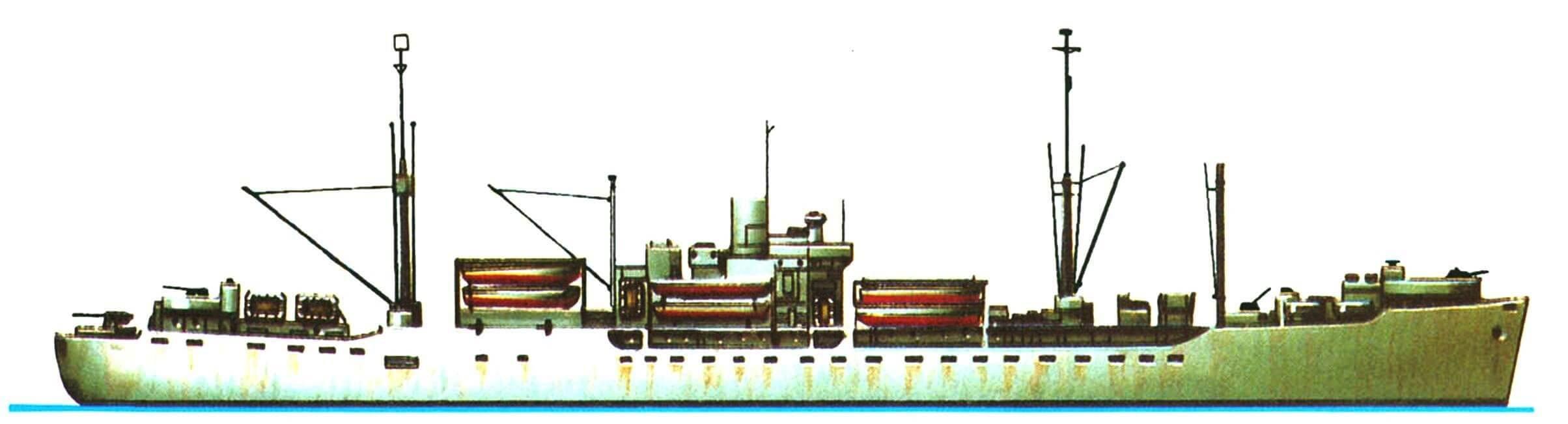 22. Десантный войсковой транспорт «Кентон» типа АРА, США, 1943 г. Водоизмещение стандартное 6875 т, полное 14 800 т, длина наибольшая 138,7 м, ширина 18,9 м, осадка 7,3 м. Турбина мощностью 8500 л.с., скорость 16,5 узла. Вооружение: одно 127-мм зенитное орудие, двенадцать 40-мм и десять 20-мм автоматов. Вместимость: 1560 человек, 22 десантных катера типа LCVP, два LCM и два LCP. Всего на базе транспортных судов типа «Виктори» в 1943 — 1945 годах построено 118 транспортов типа АРА.