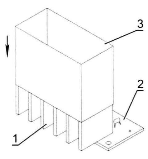 Временное защитное ограждение радиатора: 1- радиатор; 2 - плата; 3 - защитный короб