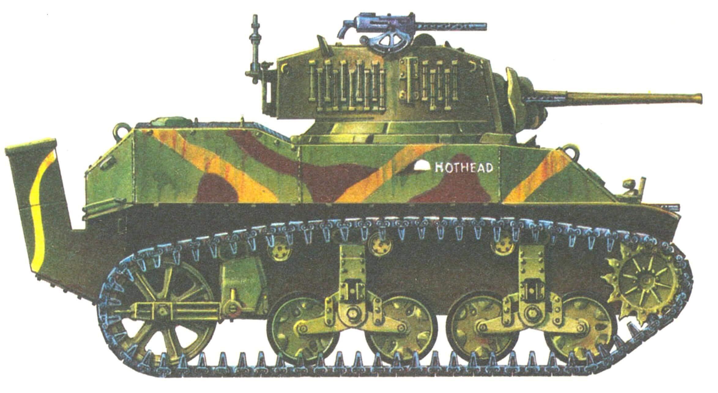 Легкий танк М5А1. 4-й танковый батальон морской пехоты США. Атолл Рой-Намюр, 1 февраля 1944 года. Кожух на корме корпуса предназначен для отвода выхлопных газов.
