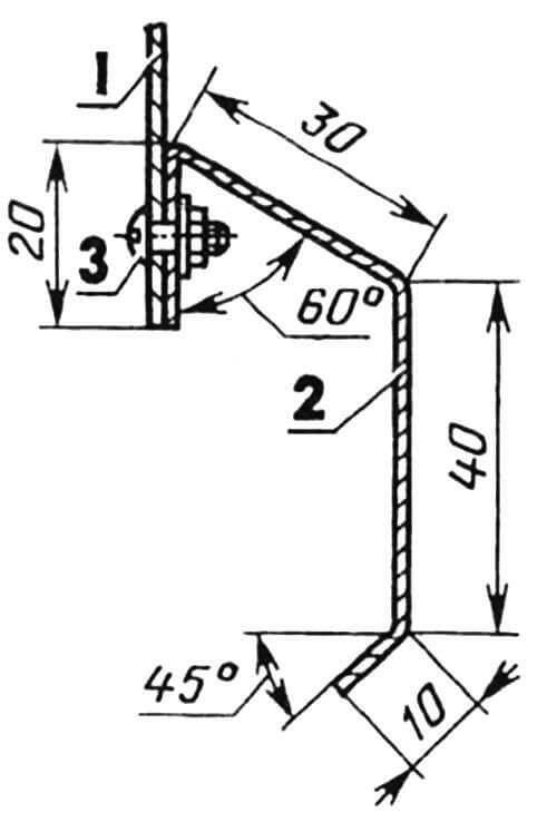 Отбортовка кузова: 1 — обшивка, 2 — отбортовка (Сталь 45, лист толщиной 1,5 мм), 3 — винт, шайба, гайка (М3).