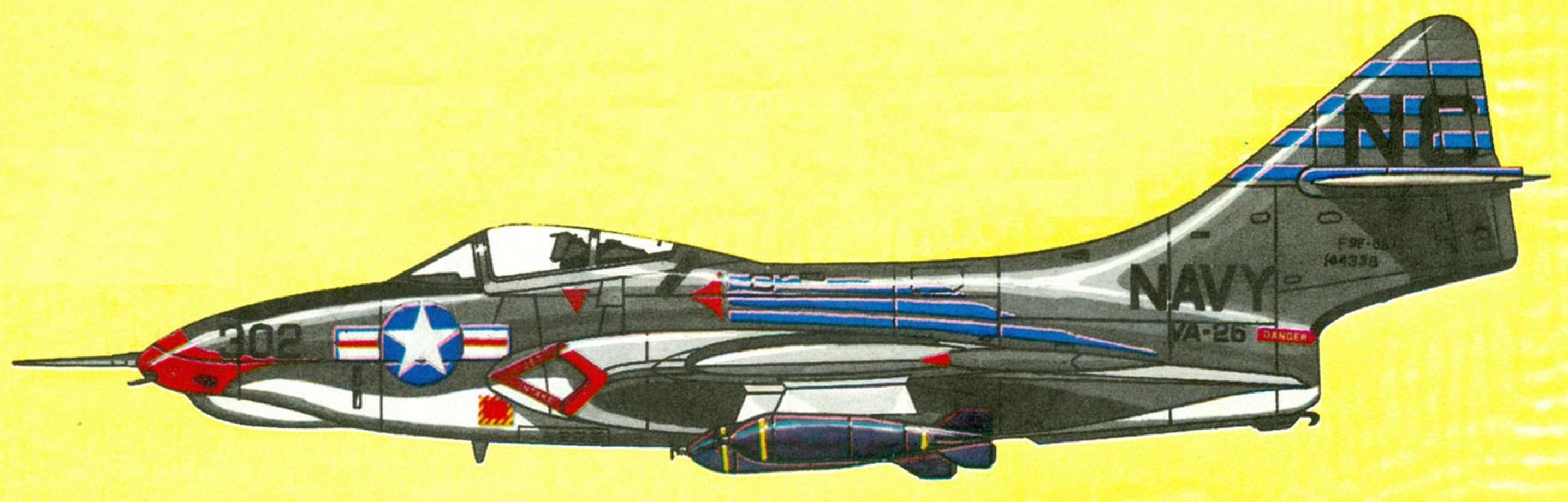Самолет AF-9J эскадрильи VA-26 авианосец Kearsarge, 1957 г