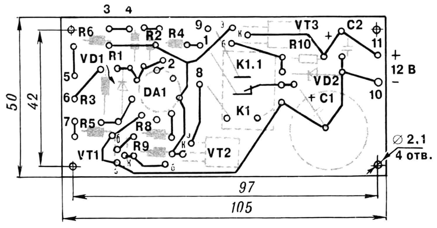 Монтажная плата с указанием расположения радиодеталей.