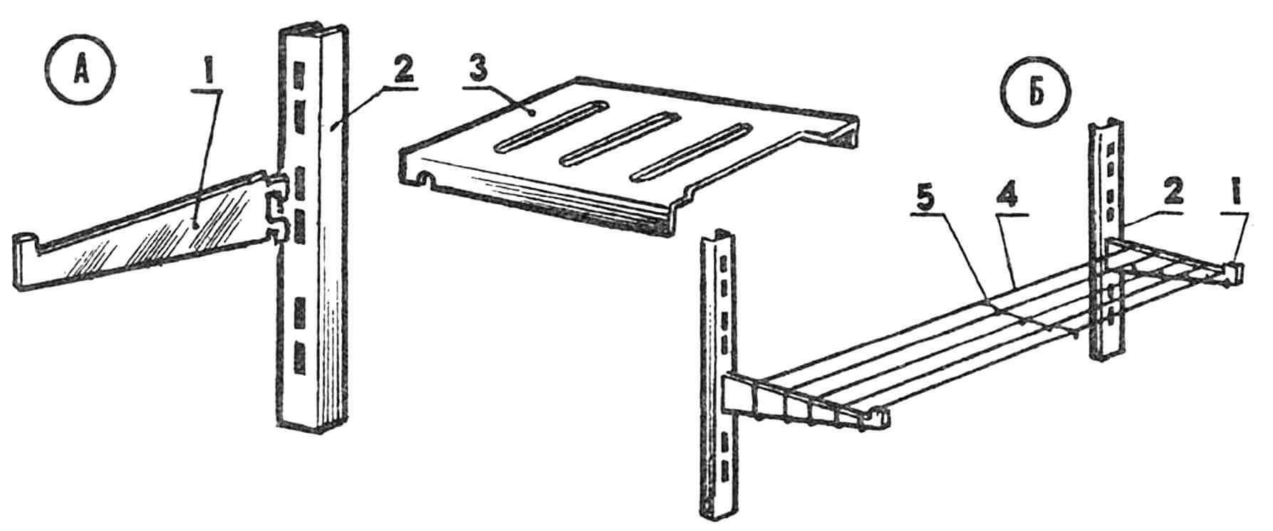 Металлическая полочка (А и Б — варианты): 1, 2 — детали промышленного металлического стеллажа, 3 — панель (из металлического листа), 4 — проволока, 5 — проволочная поперечная обвязка.