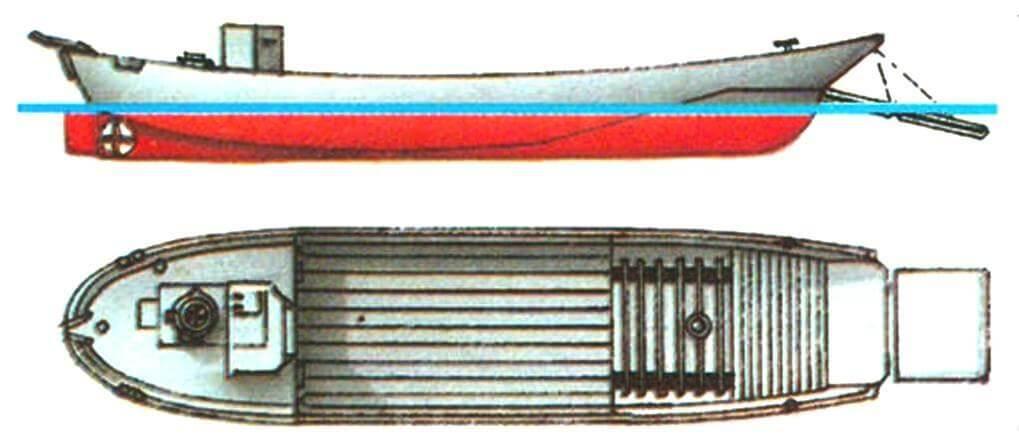 17. Десантный катер типа «Дайхацу», Япония, 1935 г. Водоизмещение в грузу 20 т. Длина наибольшая 14,5 м, ширина 3,4 м, осадка 0,75 м. Мощность дизельного или бензинового мотора 60 — 80 л.с., скорость 7,5 — 8 узлов. Вооружение: два пулемета или 25-мм автомата. Вместимость: 1 танк или 70 солдат, или 10 т груза.