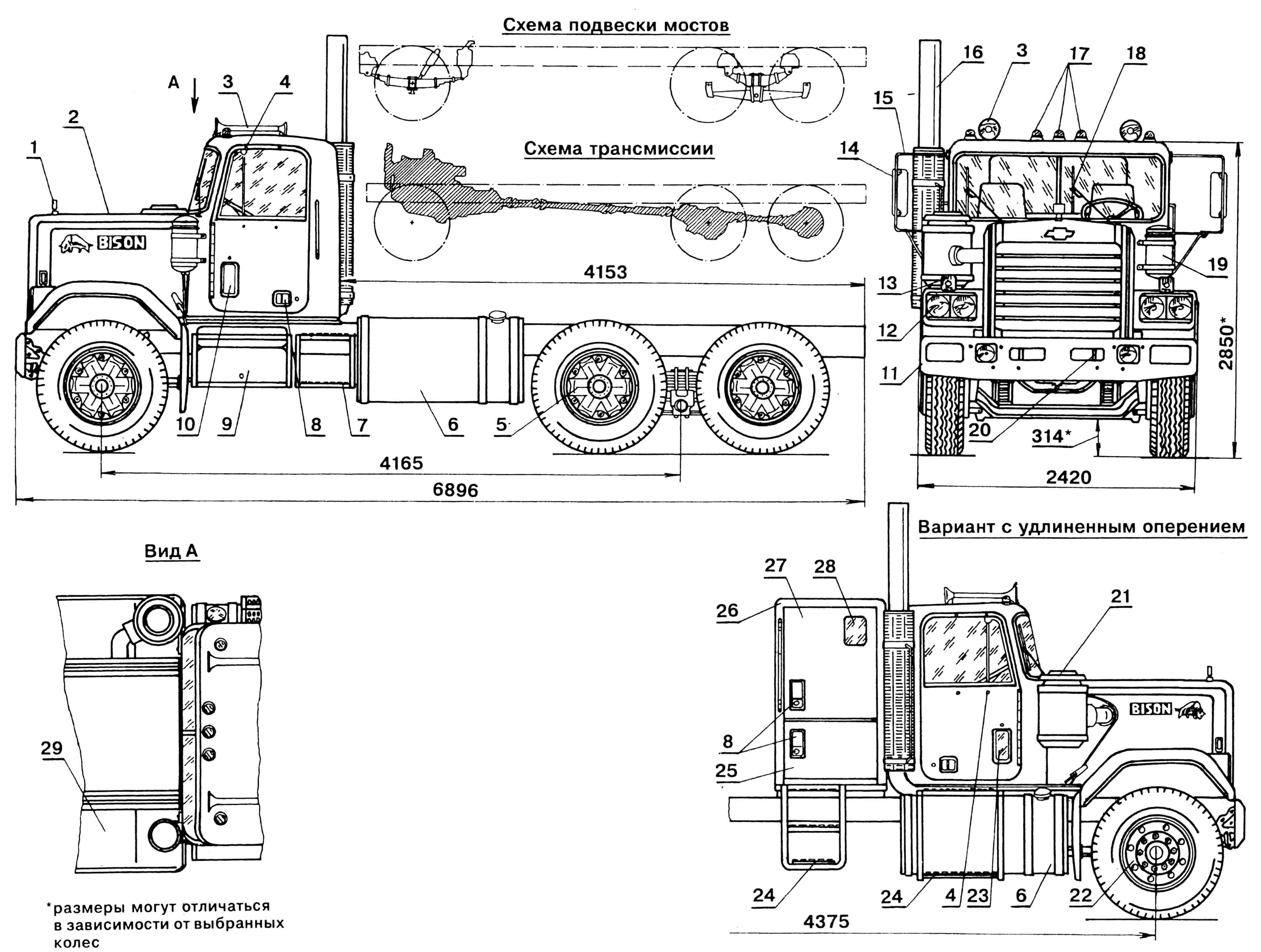 Тяжелый грузовой автомобиль CHEVROLET «BISON» (на видах сбоку зеркала условно не показаны): 1 — эмблема автомобиля «Бизон», 2 — оперение (короткое), 3 — клаксон, 4 — узлы крепления кронштейнов зеркал заднего вида, 5 — стандартная ступица колеса, 6 — бензобаки, 7,24 — подножки, 8 — ручки открывания дверей, 9 — аккумуляторный ящик, 10 — вентиляционный лючок, 11 — бампер, 12 — блок фар, 13 — указатель поворота, 14 — зеркало заднего вида, 15 — кронштейн зеркала, 16 — выхлопная труба, 17 — габаритные огни, 18 — стеклоочиститель, 19 — пневморесивер, 20 — буксирная проушина, 21 — воздушный фильтр, 22 — алюминиевый диск колеса, 23 — дополнительное окно, 25 — дверь багажного отделения, 26 — спальный отсек, 27 — дверь спального отсека, 28 — окно спального отсека, 29 — крыло.