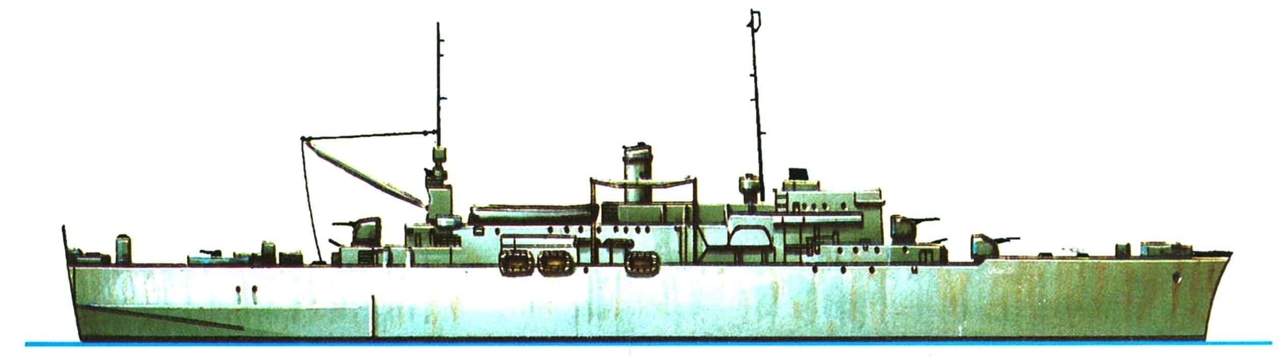 23.Десантный транспорт «Озарк» типа LSV, США, 1943 г. Водоизмещение стандартное 5875 т, длина наибольшая 138,8 м, ширина 18,4 м, осадка 6,1 м. Две турбины мощностью 11 000 л.с.,скорость 20 узлов. Вооружение: четыре 127-мм орудия, шестнадцать 40-мм автоматов. Вместимость: 800 человек и 44 амфибии DUK.W. Всего в 1943 — 1944 годах построено шесть единиц: «Кэтскилл», «Озарк», «Осэйдж», «Сэгас», «Монитор» и «Монток».