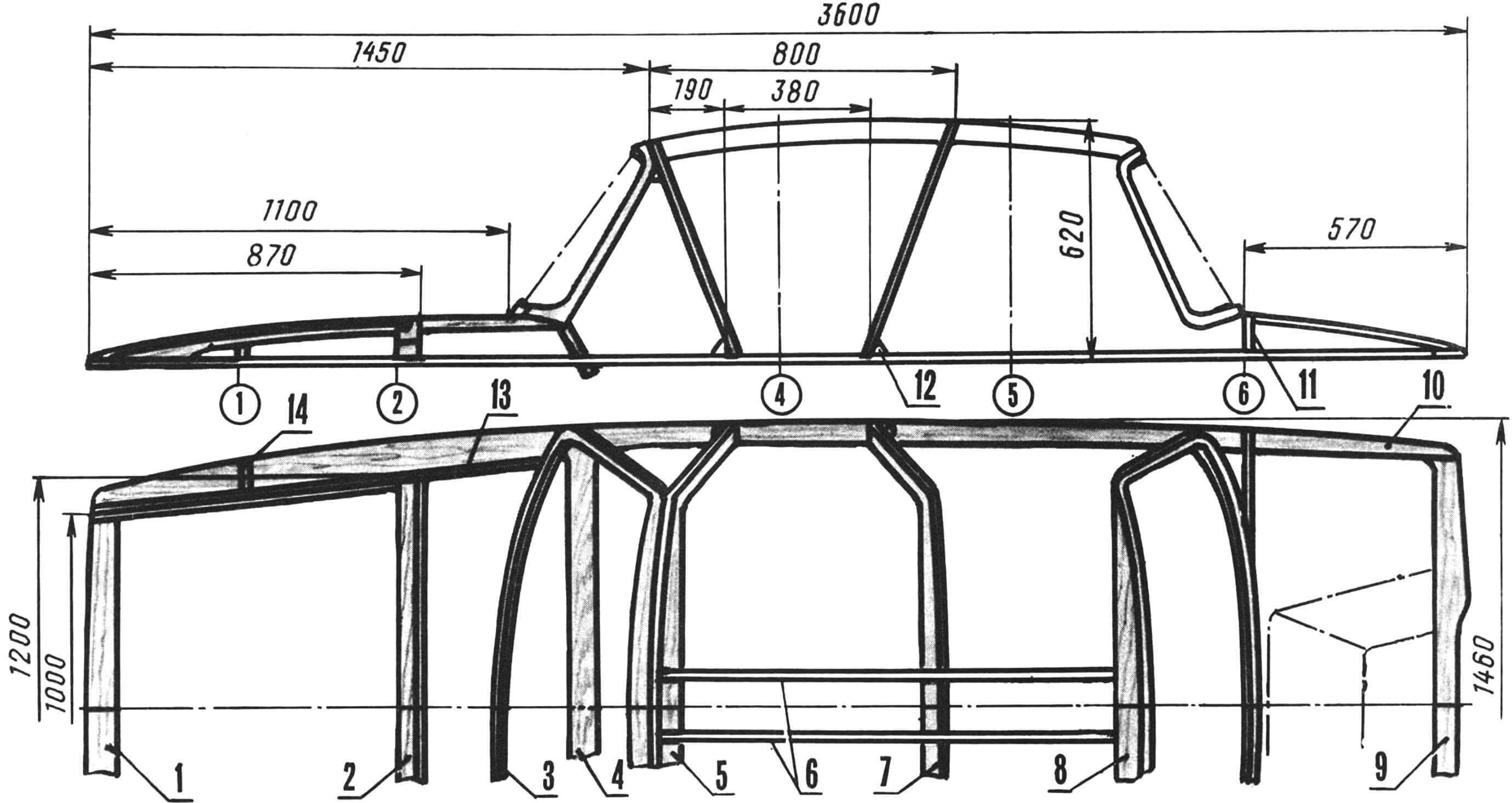 Рис. 3. Каркас верхней части корпуса катера