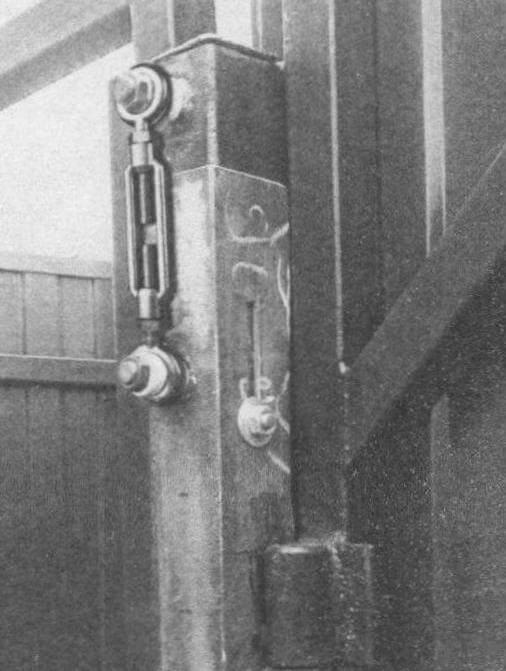 Перемещение створки ворот осуществляется при помощи талрепа с винтами M14