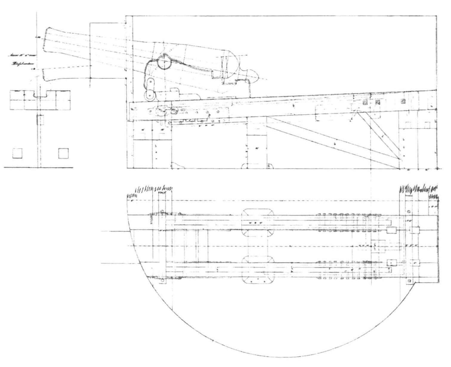 Установка 68-фунтового орудия в башне броненосной батареи «Рольф Краке» (копия подлинного чертежа)