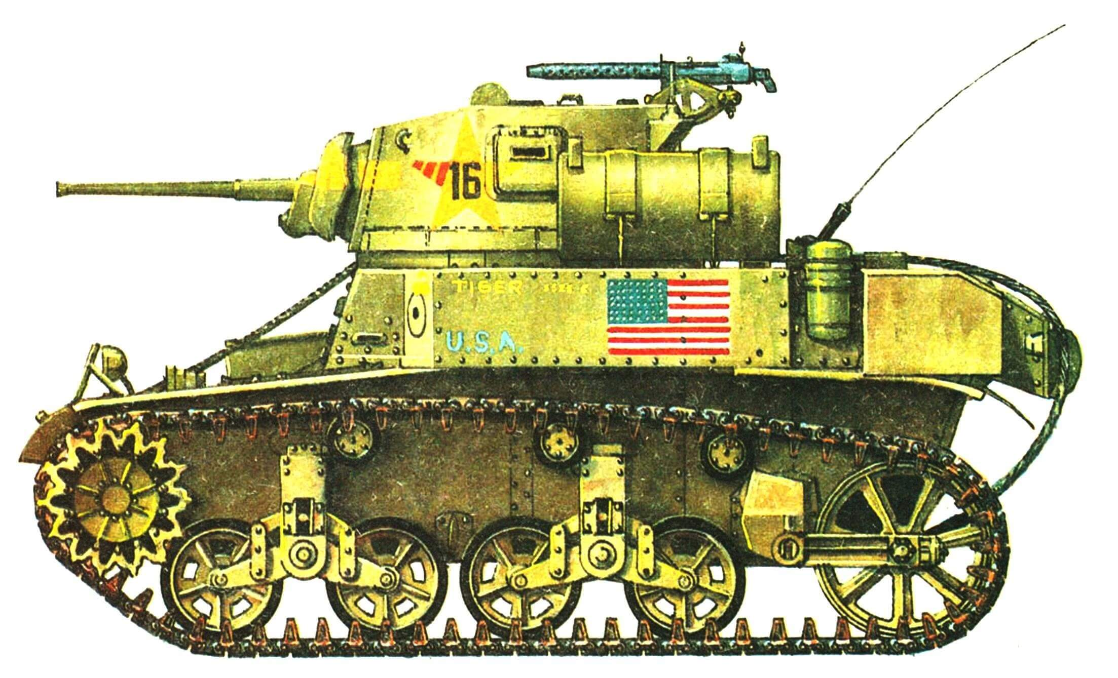 Легкий танк М3А1. 3-й взвод, рота «С», 1-й танковый батальон 1-й танковой дивизии. Тунис, декабрь 1942 года.