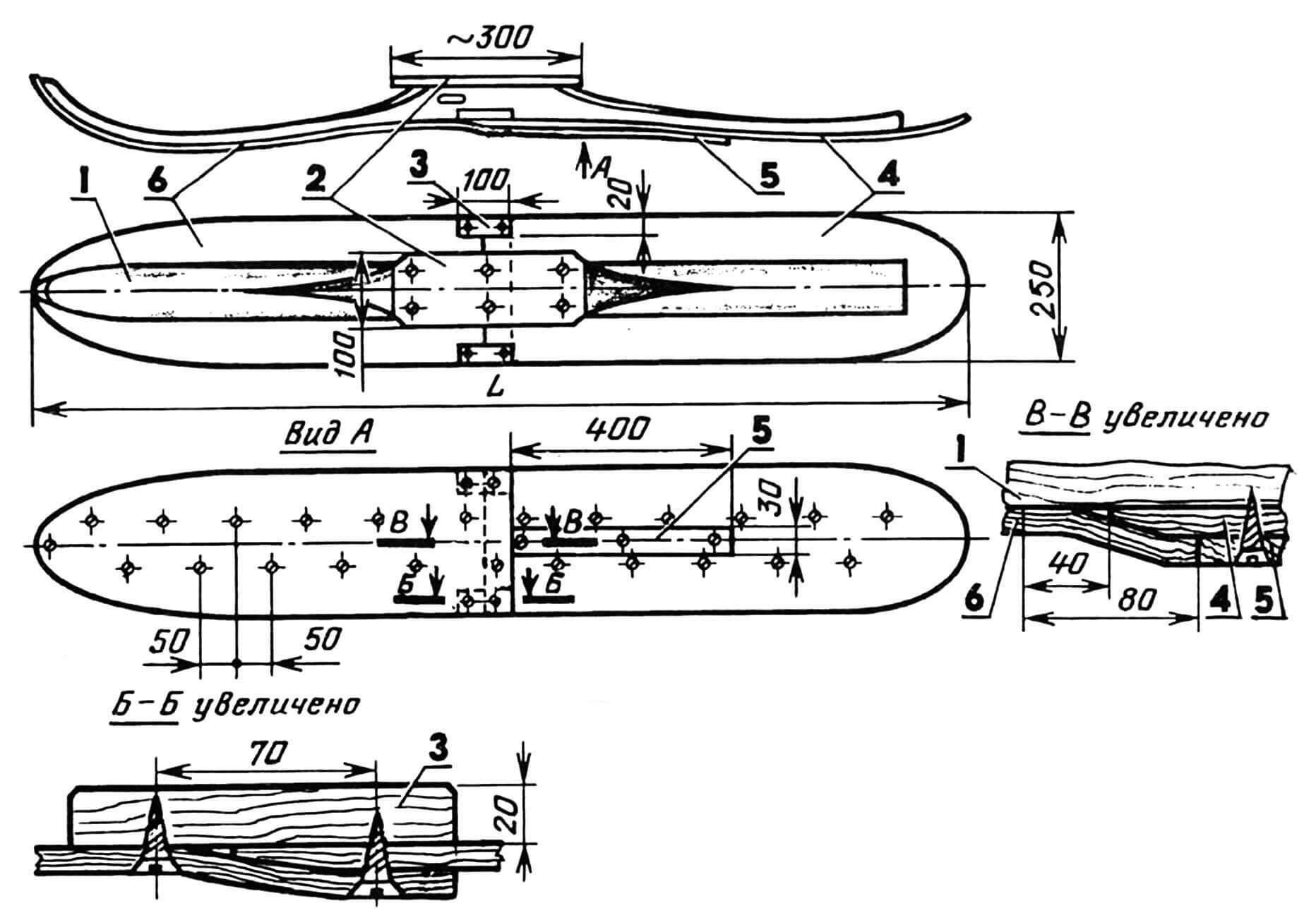 Лыжи-вездеходы: 1 — старая лыжа, 2 — накладка (фанера, s6...8), 3 — ограничитель, 4 — задний лист (фанера, S3...5), 5 — планка, 6 — передний лист (фанера, S3...5).