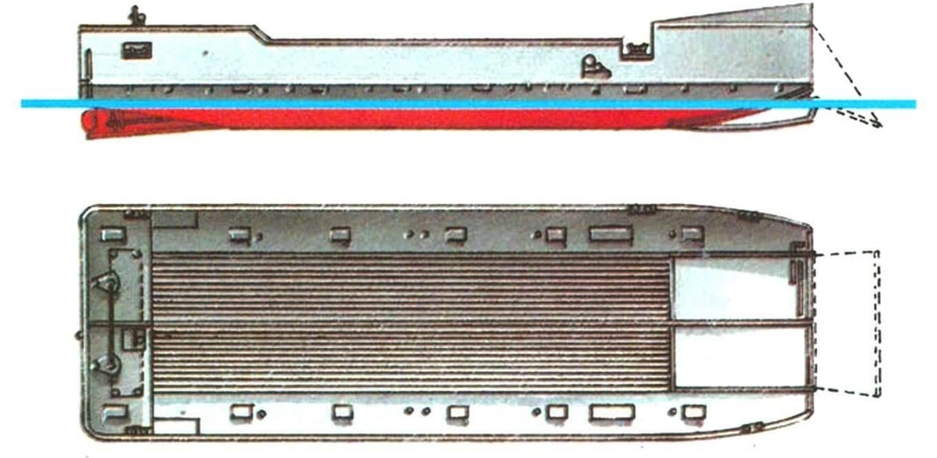 18. Малый танкодесантный плашкоут, Германия, 1940 г. Водоизмещение стандартное 25 т, в грузу 46 т. Длина 18,5 м, ширина 5,7 м, осадка 0,9 м. Два бензиновых мотора общей мощностью 260 л.с., скорость 8 узлов (в грузу). Вооружение: один 20-мм зенитный автомат. Вместимость: 3 легких танка и два джипа или один средний танк (массой 20 т).
