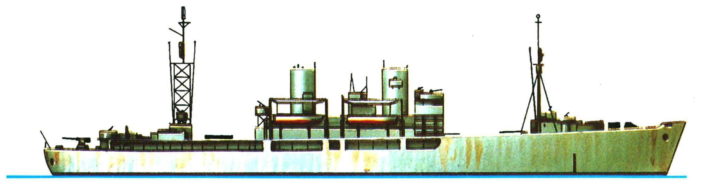 24.Грузовой десантный транспорт «Артемис» типа АКА, США, 1943 г. Водоизмещение стандартное 4300 т, полное 6740 т,длина наибольшая 129,9 м, ширина 17,7 м, осадка 4,7 м. Две турбины мощностью 6000 л.с., скорость 17,5 узла. Вооружение: одно 127-мморудие,восемь 40-мм и одиннадцать 20-мм автоматов. Вместимость: 900 т груза, 12 десантных катеров типа LCVР, два LCM и один LCP. Всего в 1943 — 1945 годах построено 99 транспортов АКА на базе стандартных транспортных судов.