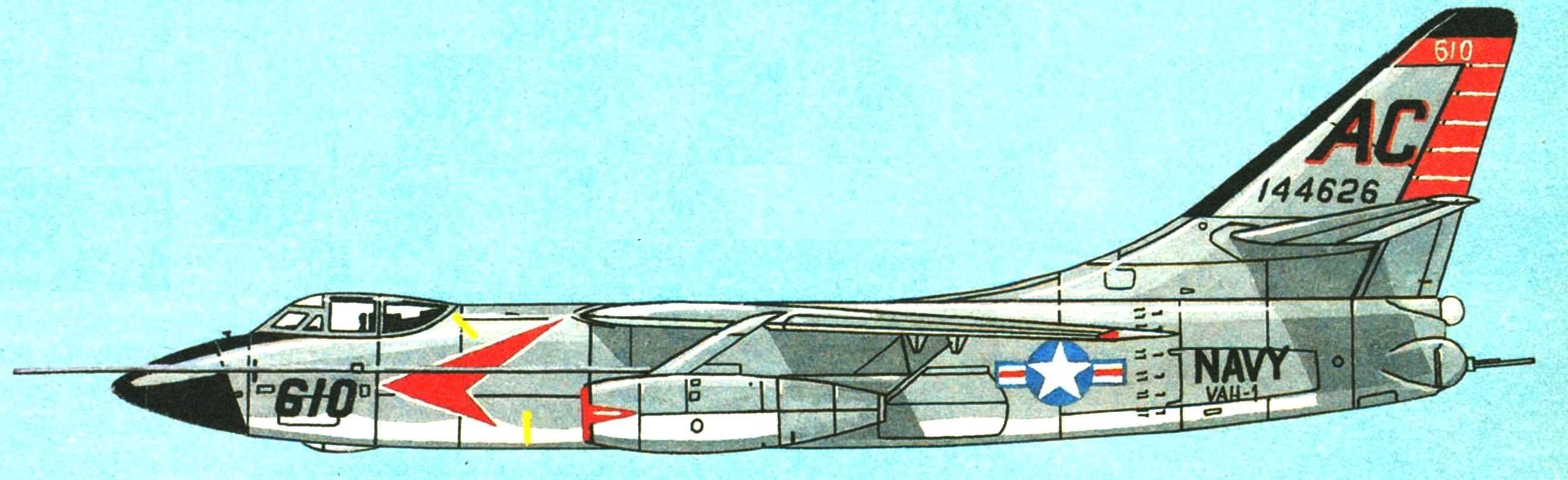 Самолет А-3А эскадрильи VAH-1 «Tigers» авианосец «Independence», 1961 г.