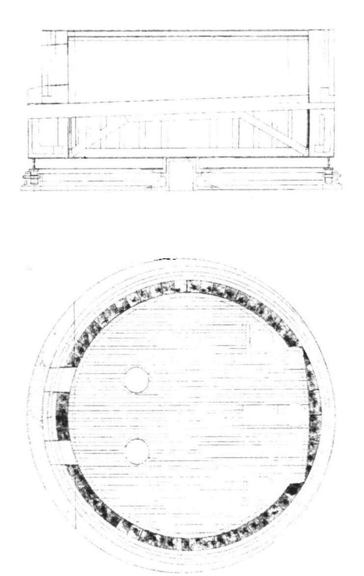 Устройство двухорудийной башни (копия подлинного чертежа)
