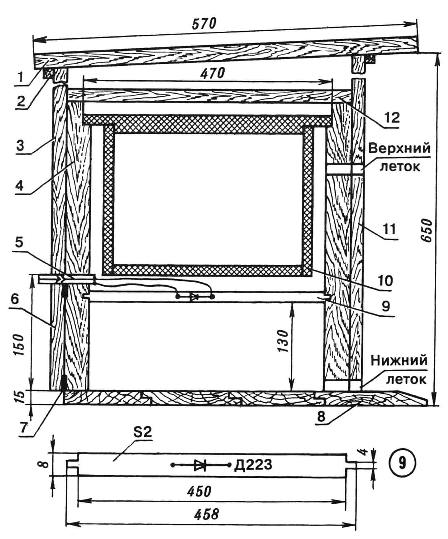 Пчелиный улей (вариант)с размещенным в нем термодатчиком: 1— крышка, 2 — поперечина, 3 — стенка задняя, 4 — корпус улья, 5 — электроразъем, 6 — дверца березовая (для удаления подмора), 7 — шарнир петлевой, 8 — дно, 9 — планка текстолитовая с полупроводниковым диодом-термодатчиком, 10 — рамка ульевая стандартная, 11 — стенка передняя, 12 — потолок.