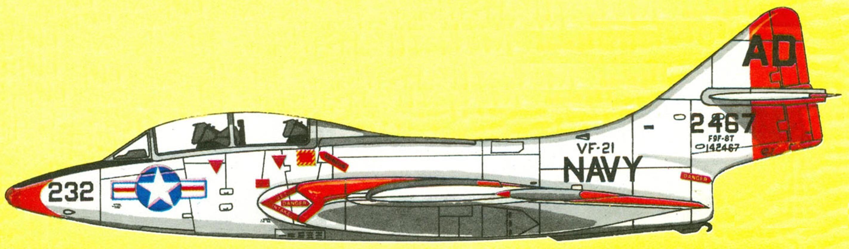 "Спарка TF-9J тренировочной эскадрильи VF-21 ""Freelancers"", база Wilmington, 1958 г."