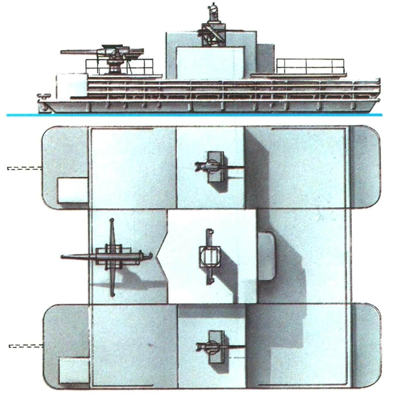 19. Десантный паром-плашкоут типа «Зибель» (вариант «Констанца»), Германия, 1942 г. Водоизмещение в грузу 150 т. Длина 22,0 м, ширина 13,7 м, осадка 0,9 м. Два бензиновых мотора общей мощностью 1500 л.с., скорость 10 узлов. Вооружение: одно 37-мм зенитное или 75-мм полевое орудие. Вместимостью 200 — 400 человек.